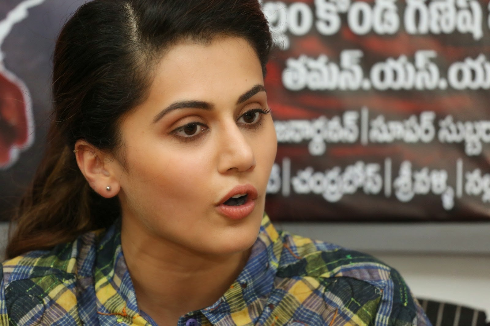 Tapsee Open Mouth Hot Photoshoot In Green Shirt Dress