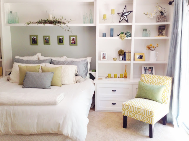 open concept living, white built ins, Pottery Barn style, slipper chair, yellow and gray decor