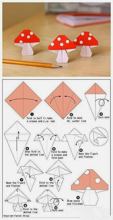 Tutorial origami ciupercuta
