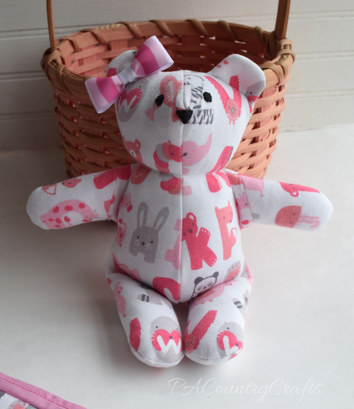 The finished bear measures about 8 high these bears were made with a