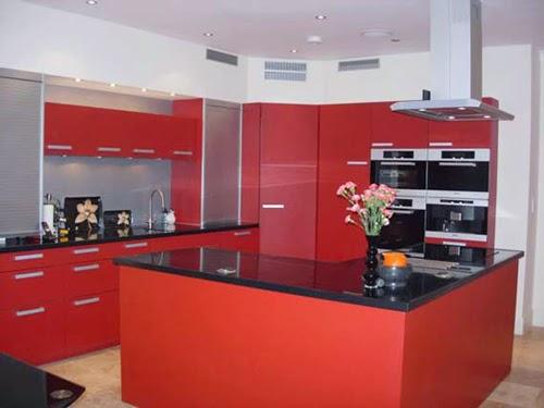 gambar dapur minimalis warna merah
