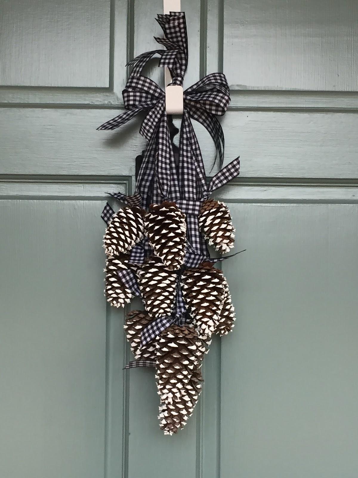 Simply lkj pinecone door hanger winter door decor for Pine cone door decoration