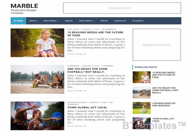 Marble Responsive Blogger Template has 2 columns with 1 right sidebar and Amazing colors used in this template white and Blue.