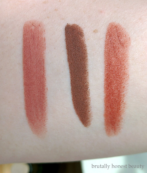 Swatches of L.A. Girl Matte Lipstick in Snuggle, NudeStix Magnetic Matte in Greystone, and Maybelline ColorSensational Maple Kiss