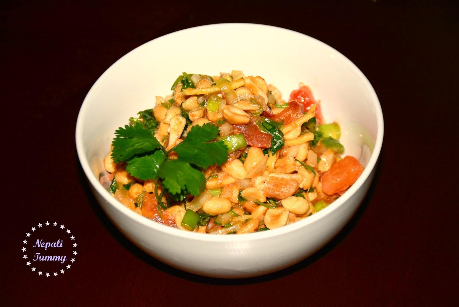 Nepali Tummy!!: Badam Sadeko (Spicy Peanut Salad/Salsa) Recipe!!