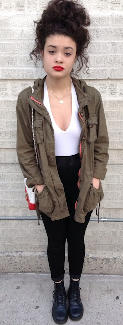 18 Tumblr Summer Outfits You'll Love to Wear! black skinny jeans white bodysuit army jacket