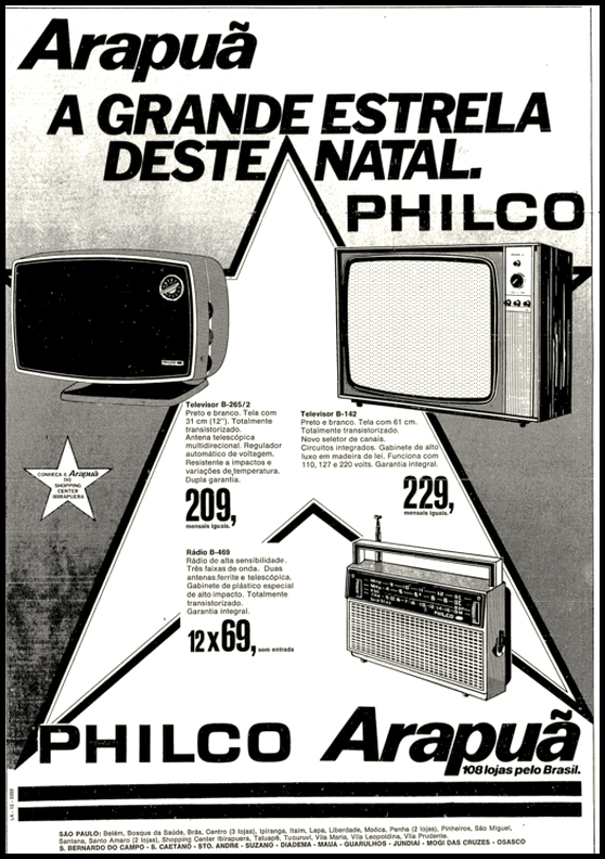 Campanha de fim de ano da Arapuã para promover a linha de eletrônicos da Philco