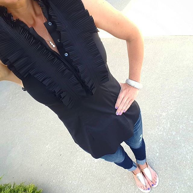 BCBGMaxAzria Ruffle Top via ThredUp - save 20% off your first order with code 20FORYOU (similar) // Express Distressed Jean Legging - buy 1 get 1 $29.90 // Nine West Sandals (similar - on sale for $16)