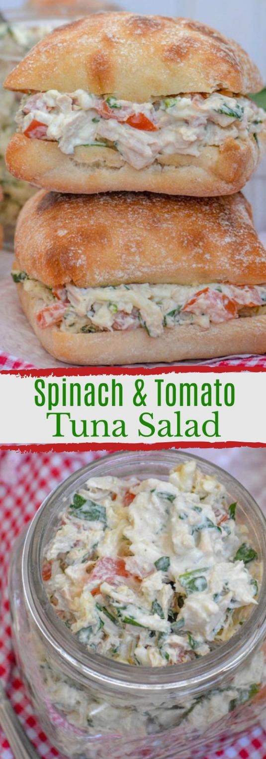 SPINACH & TOMATO TUNA SALAD SANDWICHES #vegetasble #tomato