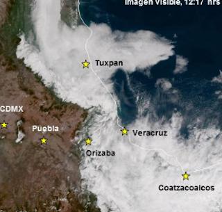 Cielo nublado a medio nublado en Tamaulipas y Veracruz