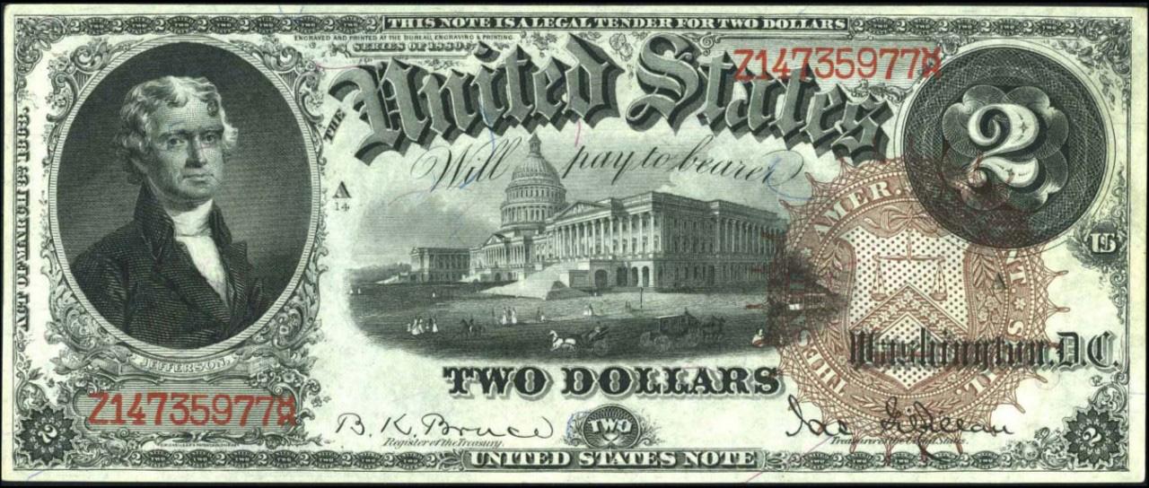 Банкнота 2 доллара 1880 года