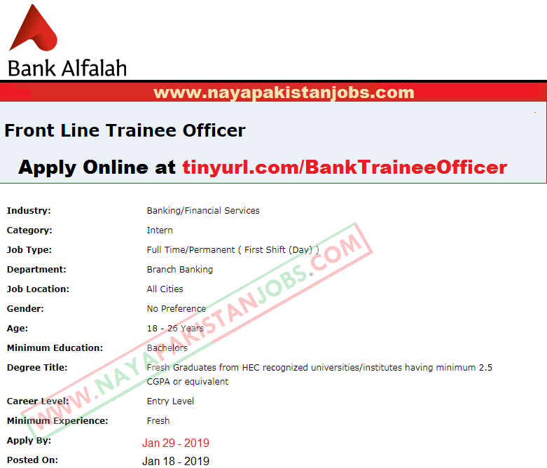 Bank Alfalah Jobs, Bank ALfalah Jobs 2019, bank al falah latest jobs , bank al falah trainee officer