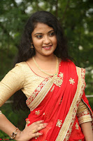 Akshara in Red Saree Golden Choli at LV Movie Makers Production No 1 Movie Opening ~  Exclusive 036.JPG