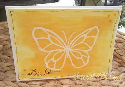 Schmetterling, Brusho, Geburtstag, SU-Stempel wunderbarer Tag