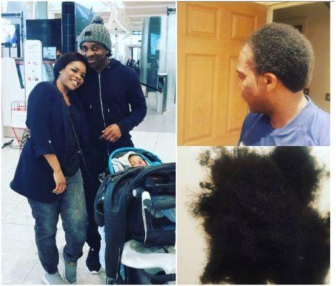 Ogbonna-Kanu-cuts-his-hair-for-his-wife-Laura-Ikeji