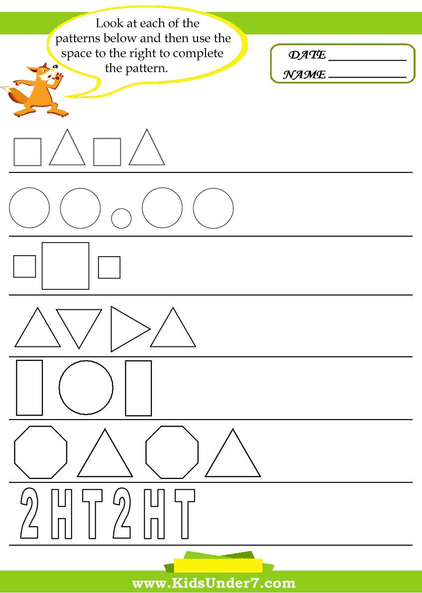 - Kids Under 7: Pattern Recognition Worksheets