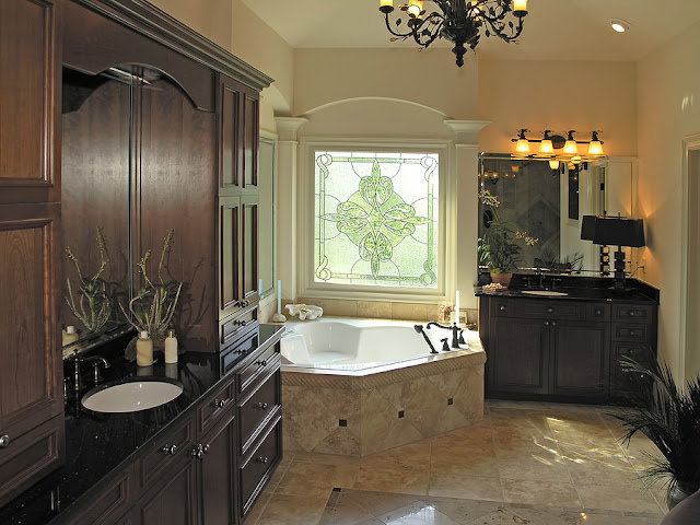 Bathroom with dark brown furniture