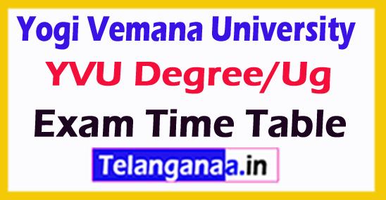Yogi Vemana University YVU Degree/Ug Exam Time Table