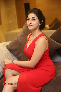 Actress Mouryani Stills in Red Dress at Intlo Deyyam Nakem Bhayam Trailer Launch  0121