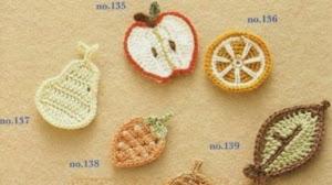 8 patrones crochet de apliques con forma de frutas