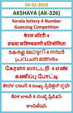 Kerala lottery 4 Number Guessing Competition AKSHAYA AK-326