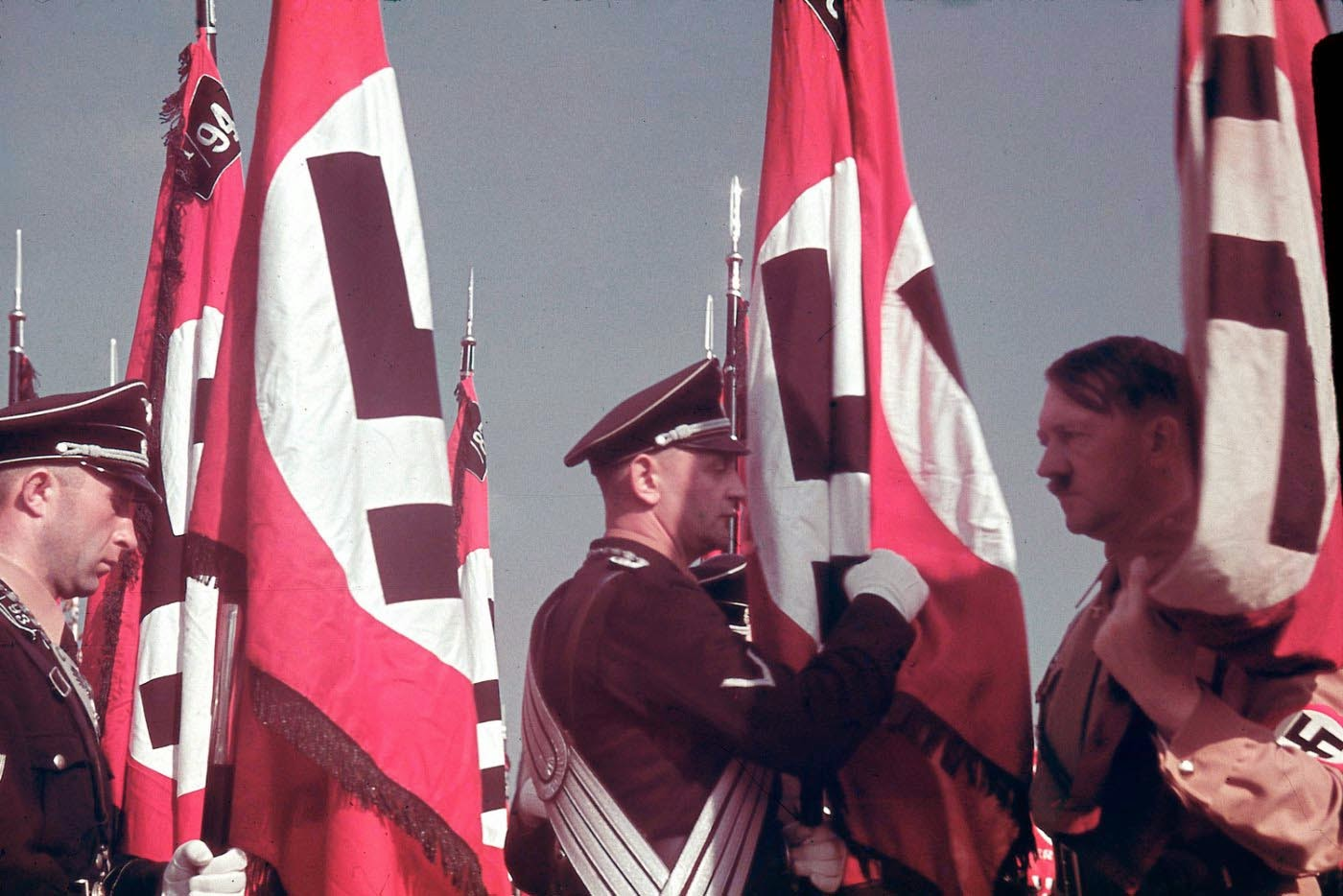 Adolf Hitler at the swearing-in of SS standard bearers at the Reich Party Congress, Nuremberg, 1938.