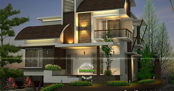 beautiful-modern-contemporary-thumb Curved Roof House Design Kerala Home on modern garage with shed roof, house plans with gable roof, slate gray metal roof, ranch style house with hip roof, house with balcony roof, house plans with sloping roof, house with pool on roof, garage exterior design with metal roof, house with green metal roof, build a cupola roof, home roof, modern house roof,