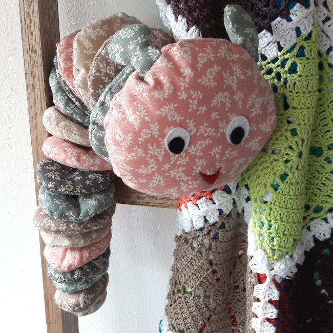 Sewing pattern caterpillar, designed by Happy in Red for Scheepjes YARN (Midnight Garden)