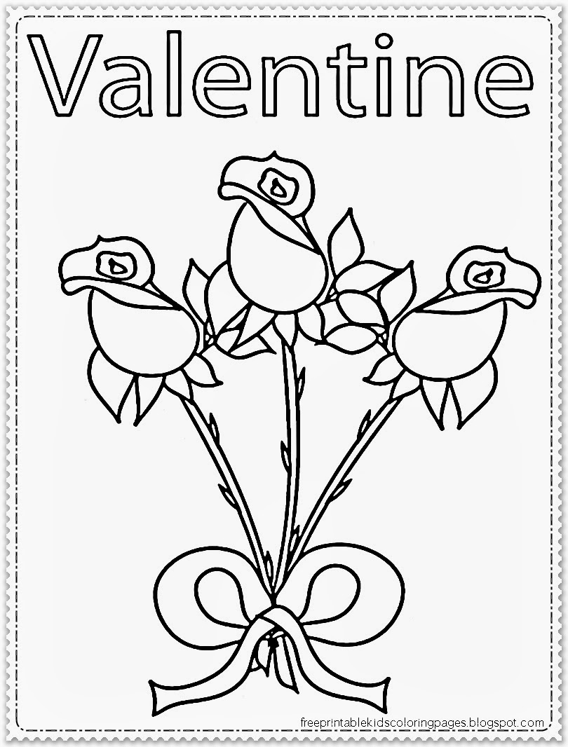 Rose Flower Valentine Coloring Pages Printable