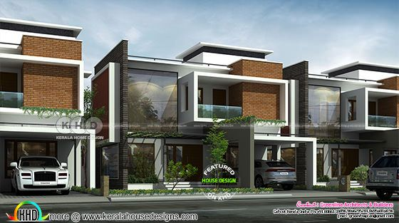 Box type flat roof modern villa rendering