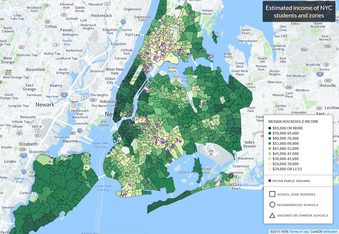 Estimated income of NYC students & zones