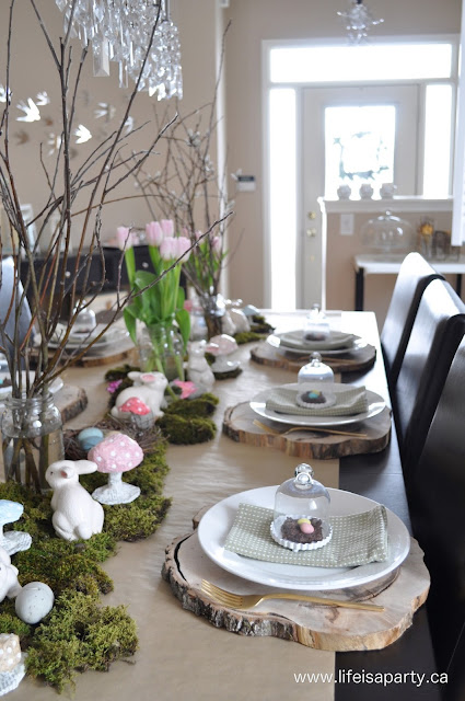 Pretty natural spring tablescape with moss