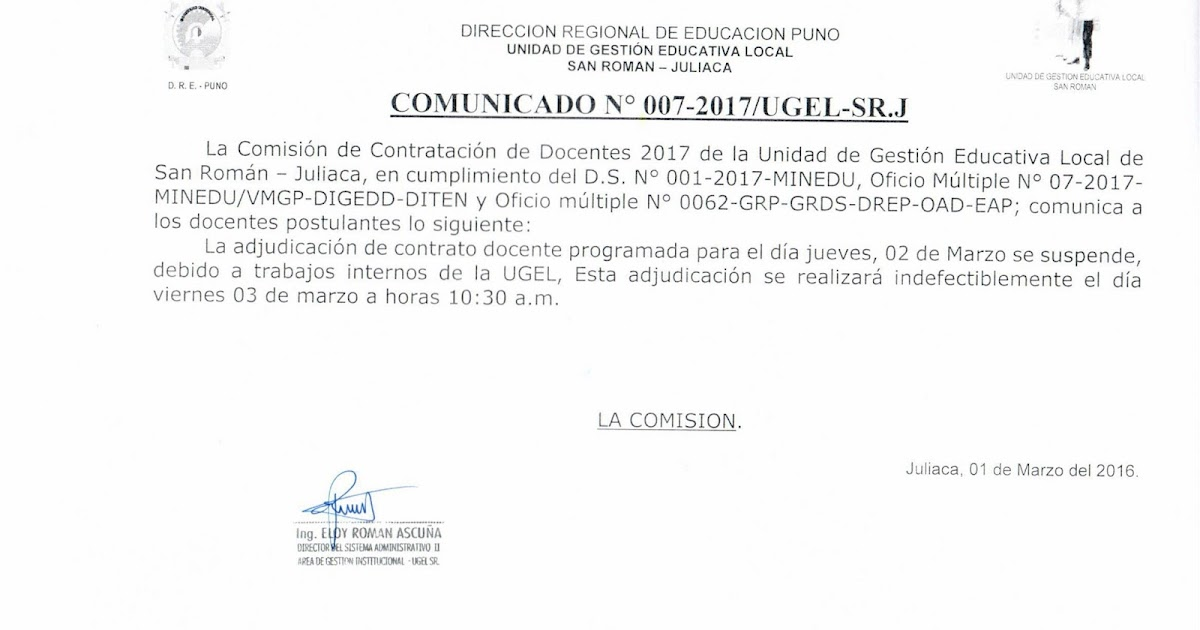 Actualidad educativa comunicado adjudicaci n de plazas for Vacantes de docentes 2016