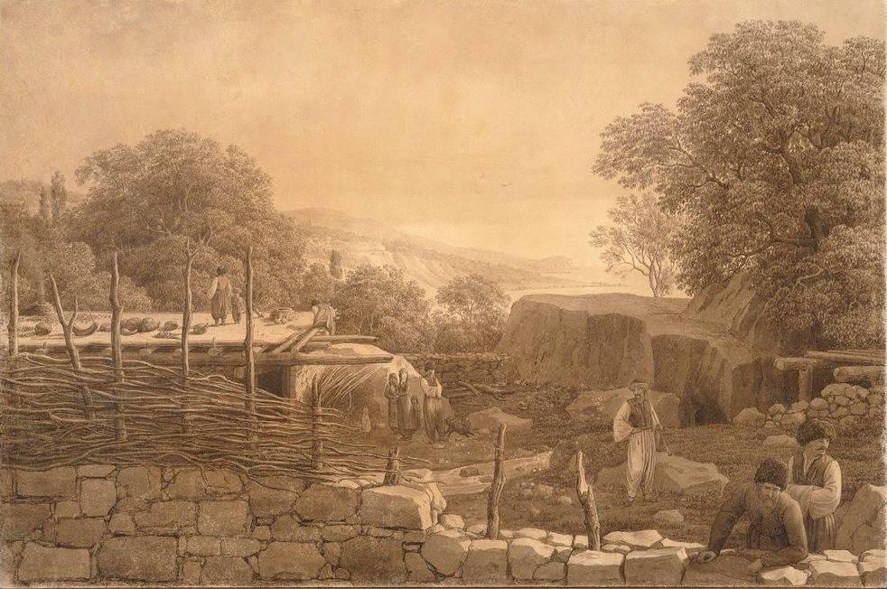 Крымскотатарская семья в Алупке на старинной гравюре