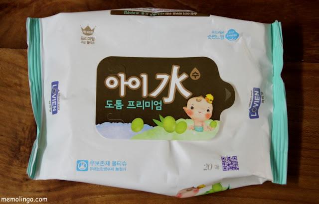 Toallitas húmedas coreanas, con hanjas en el nombre