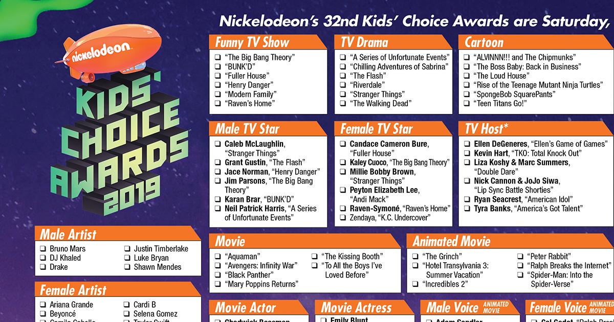 2019 Kids Choice Awards Printable Ballot The Gold