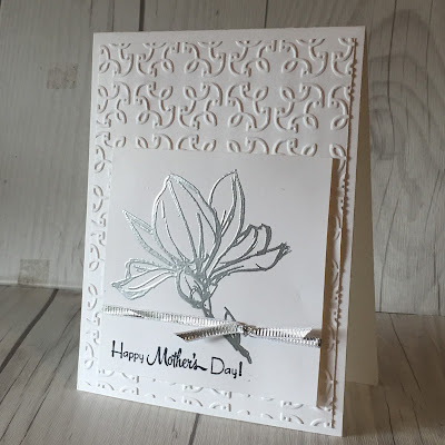 Flower created with Silver Embossing Powder