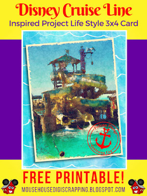 """""""Pelican Plunge - Castaway Cay"""" Disney Cruise inspired Project Life style 3x4 Card Pin 2"""