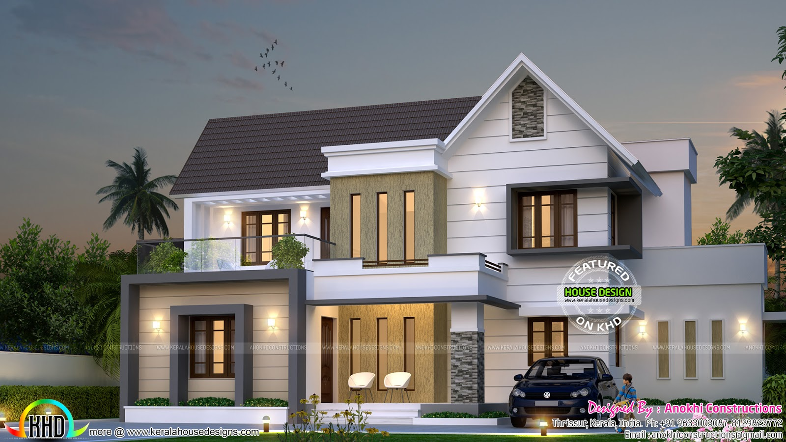 mix roof double storied house architecture