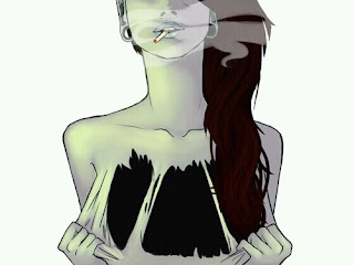 Chica pelirroja, con dilataciones y fumando, que se rasga la piel y, debajo de ella, no tiene nada. Solo vacío.