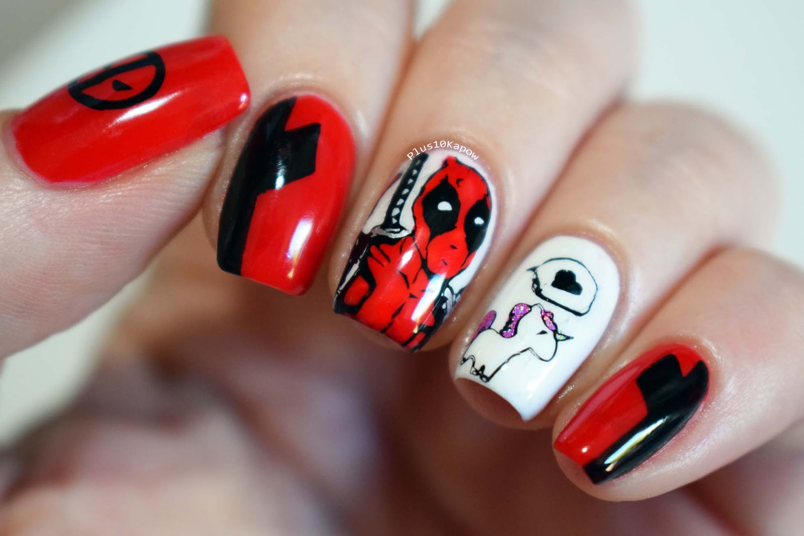Nail Art Ideas » Deadpool Nail Art - Pictures of Nail Art Design Ideas