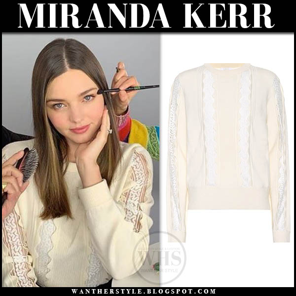 Miranda Kerr in cream lace-trimmed chloe sweater feminine celebrity style january 11