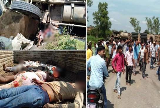 Uttar-pradesh-Uncontrollable-truck-hit-Tempo-and-Magic-15-killed-उत्तरप्रदेश बेकाबू ट्रक ने टेंपो और मैजिक को मारी टक्कर, 15 की मौत