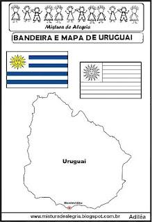 Bandeira e mapa do Uruguai