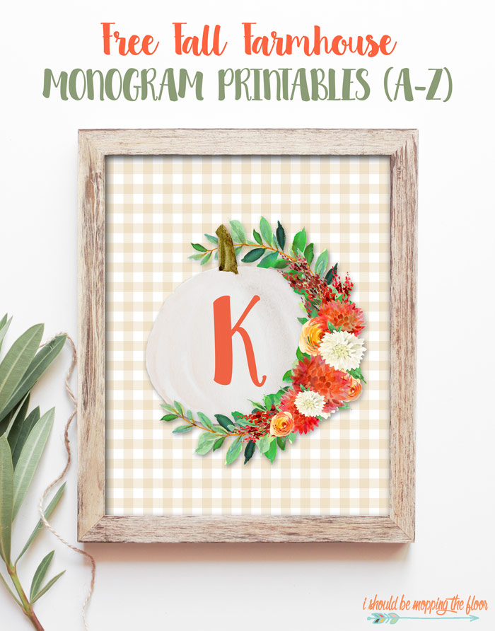 Lovely floral farmhouse pumpkin monogram printable (free!)
