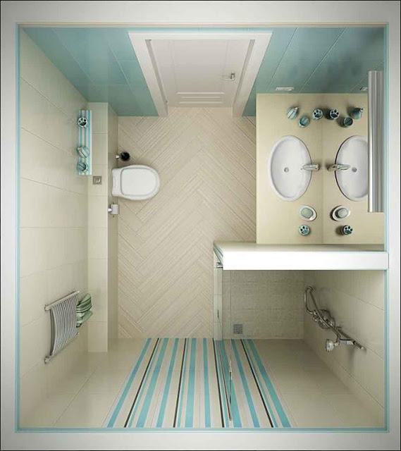 Best Small Bathroom Decorating Ideas On Tight Budget White Bathroom Interior Having Light Blue Colors and Stripes as the Wall Accent Pictures