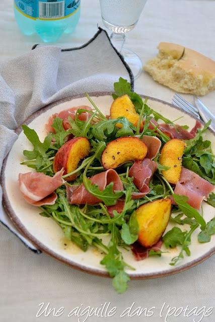 salade de pêches et jambon cru d'Ottolenghi