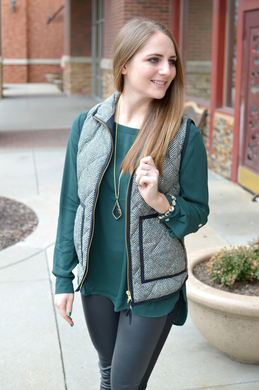 herringbone vest with leather leggings
