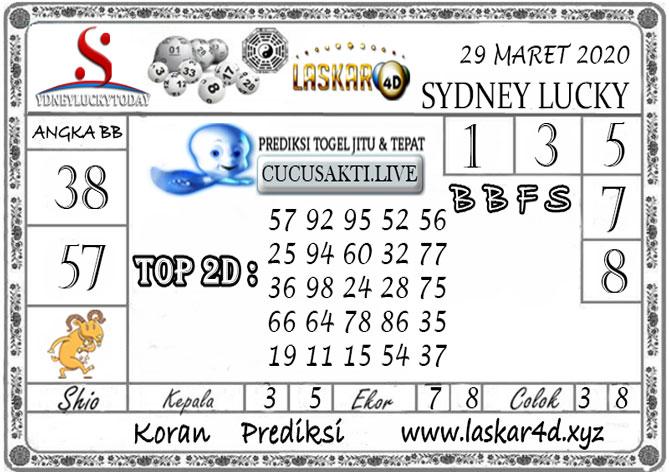 Prediksi Sydney Lucky Today LASKAR4D 29 MARET 2020