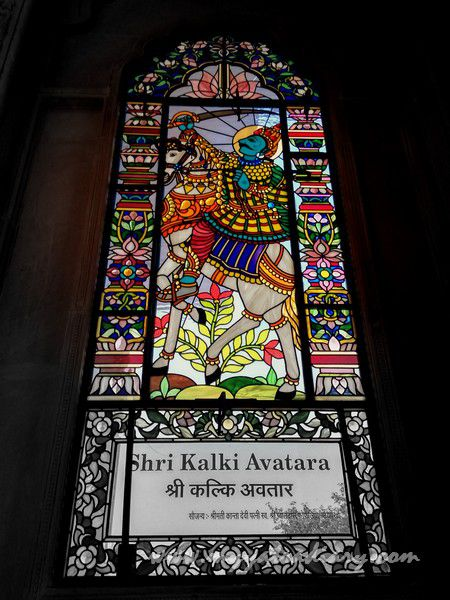 Kalki avatar stained glass window vedic art gallery - ISKCON Jaipur, Rajasthan